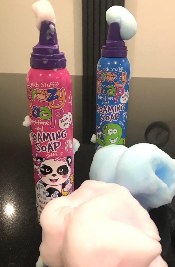 Pink and blue bath foam