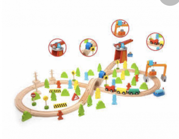 A beautifully crafted wooden train set